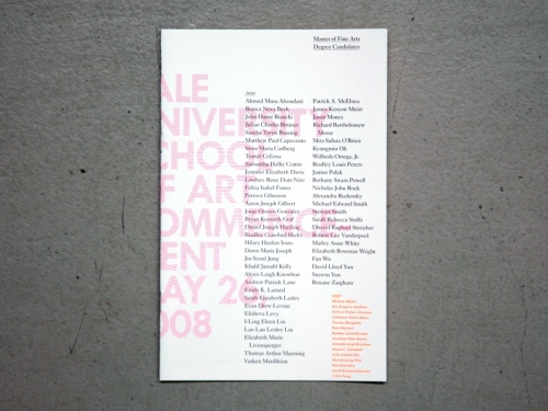 Yale School of Art Commencement Program