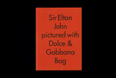Sir Elton John Pictured with Dolce & Gabbana Bag